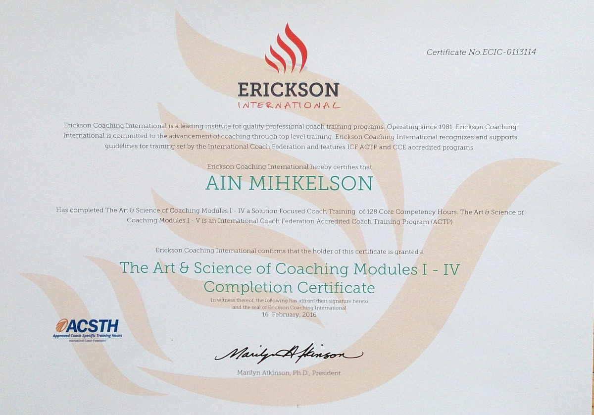 Coaching program certificate- Erickson International