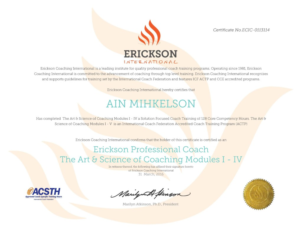 Ain Mihkelson Professional Coach Certificate