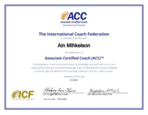 Ain Mihkelson ICF ACC certificate